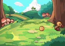 Холм в лесе иллюстрация вектора