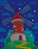 Холм с ветрянкой на ноче Стоковая Фотография RF