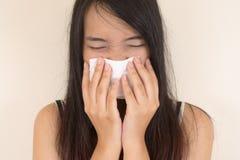 Холод гриппа, симптом аллергии Стоковое Изображение RF