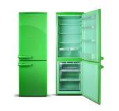 Холодильник зеленого цвета открытый изолированный на белизне Стоковое фото RF