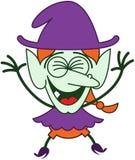 Холодная ведьма хеллоуина смеясь над восторженно Стоковая Фотография RF