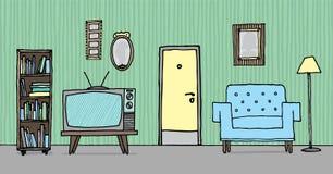 Холодная винтажная живущая комната/ретро предпосылка Стоковые Изображения
