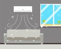 Холодная комната с кондиционером Стоковое Фото