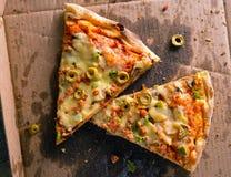 Холодная остаток пицца стоковое изображение