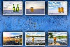 Холодное пиво Предпосылка для рекламировать стоковые фото