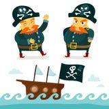 Холодное собрание пирата Смешной характер пирата и предпосылка моря Стоковые Изображения RF