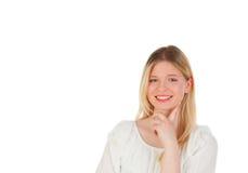 Холодный белокурый думать девушки Стоковая Фотография