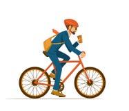 Холодный велосипед катания бизнесмена к офису иллюстрация вектора