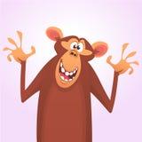 Холодный значок характера обезьяны шаржа также вектор иллюстрации притяжки corel стоковое изображение rf