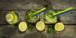 Холодный лимонад в бутылках с лимонами Стоковые Фотографии RF