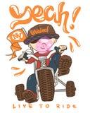 Холодный ребенк на велосипеде, печати футболки Иллюстрация вектора