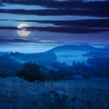 Холодный туман лета дальше в горах на ноче Стоковые Фотографии RF