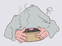 Холодный человек клал полотенце дышает паром иллюстрация штока