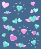 Холодный яркий диамант сердца формирует современные значки Стоковая Фотография