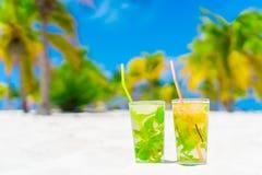 2 холодных вкусных коктеиля mohito на белом песчаном пляже в роще ладони Стоковое Фото