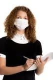 Холод работника офиса нося уловленный маской Стоковые Изображения RF