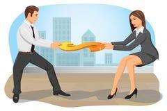 ход принципиальной схемы конкуренции бизнесмена дела портфеля иллюстрация вектора