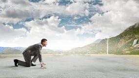 ход принципиальной схемы конкуренции бизнесмена дела портфеля Стоковые Изображения