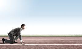 ход принципиальной схемы конкуренции бизнесмена дела портфеля Стоковая Фотография