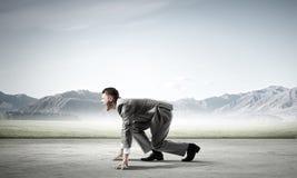 ход принципиальной схемы конкуренции бизнесмена дела портфеля Стоковая Фотография RF