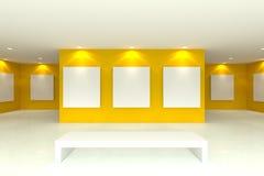 Холст на желтой стене в галерее иллюстрация вектора