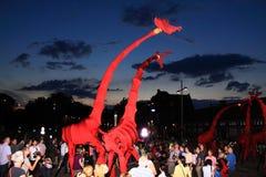 ходулочники красного цвета giraffes deventer Стоковая Фотография