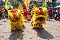 Хо Ши Мин, Вьетнам - танцы льва 18-ое февраля 2015 для того чтобы отпраздновать лунный Новый Год на пагоде Thien Hau Стоковые Фото
