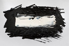 Ходы щетки черной абстрактной акварели акриловые Стоковое Изображение RF