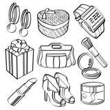 Ходя по магазинам комплект и собрание товаров широкого потребления Стоковые Изображения