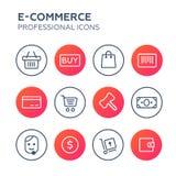 Ходя по магазинам онлайн значки с белой предпосылкой Стоковое фото RF