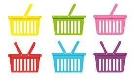 Ходя по магазинам плоская иллюстрация коммерции вектора значка корзины иллюстрация вектора