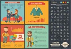 Ходя по магазинам плоский шаблон Infographic дизайна Стоковое Изображение RF