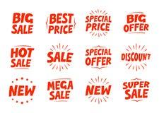 Ходя по магазинам установленные значки Продажа, скидка, предложение, новый символ Иллюстрация вектора текста Стоковые Изображения RF