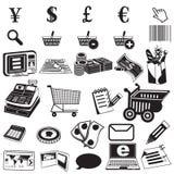 Ходя по магазинам черные значки Стоковое Изображение RF