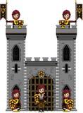Храбрые средневековые рыцари на замке Стоковое Фото