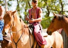 Храбрый казак на лошади Стоковое Изображение