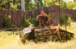 Храбрый казак на лошади Стоковые Фото