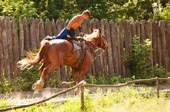 Храбрый казак на скакать лошади Стоковая Фотография RF