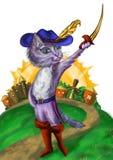 Храбрый кот в большие ботинки Стоковое Изображение