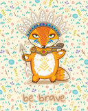 Храбрый Милая карточка с индийской лисой Стоковое Фото