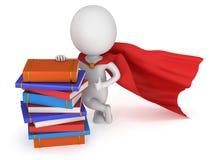 Храбрый студент супергероя с красным плащем Стоковая Фотография RF