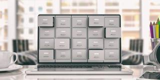 Хранение данных компьтер-книжки Ящик для хранения карточк на экране компьтер-книжки иллюстрация 3d иллюстрация вектора