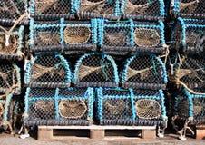 Хранение старых несенных ловушек рыболовства для угрей Стоковое Фото