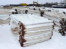 Хранение трубы на открытом воздухе Конструкция газопровода Вспомогательные структуры Стоковое Изображение