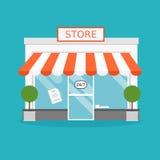 Храните фасад Иллюстрация вектора здания магазина Стоковое Изображение
