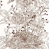 Хризантема и пион цветут картина коричневого плана sepia безшовная на бежевой предпосылке иллюстрация вектора