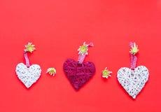 Хризантемы и декоративные сердца на предпосылке коралла декор праздничный стоковая фотография rf
