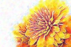 хризантемы Стилизованная нижняя картина пастельно бесплатная иллюстрация