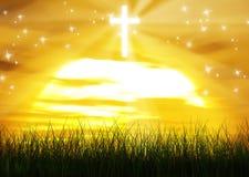 Христианская перекрестная предпосылка Солнця Рэй Иисуса Христоса Стоковое Изображение RF