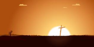христианская перекрестная пустыня внутри ландшафта иллюстрация вектора